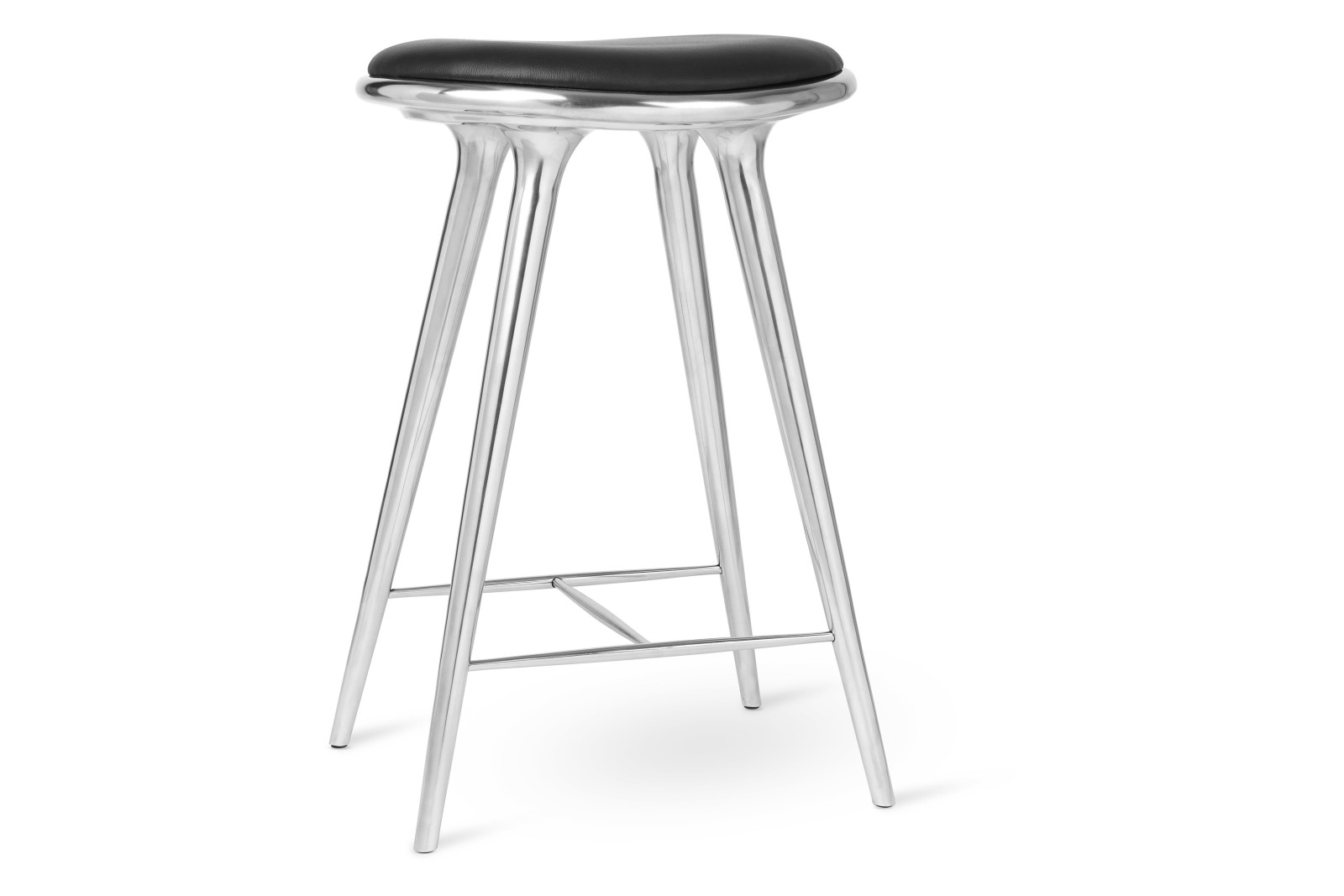 High Stool, Black Leather Seat Partly Recycled Aluminium, 69cm