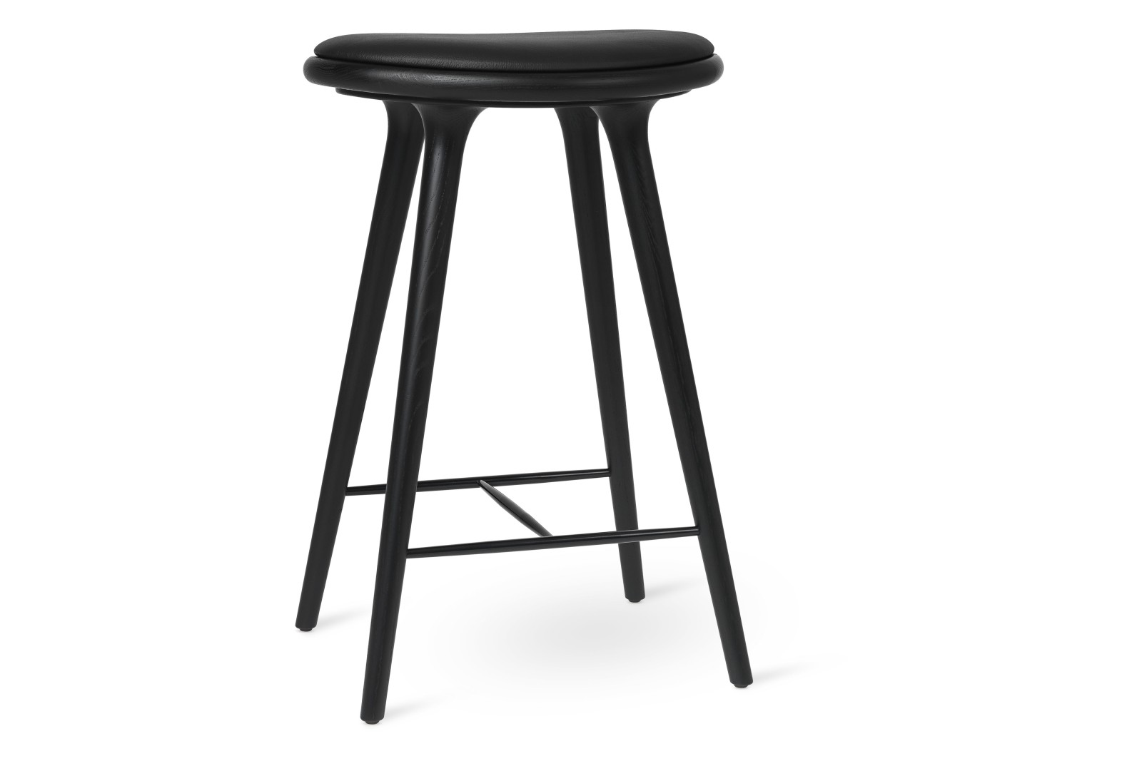 High Stool, Black Leather Seat Black Stained Solid Oak, 69cm