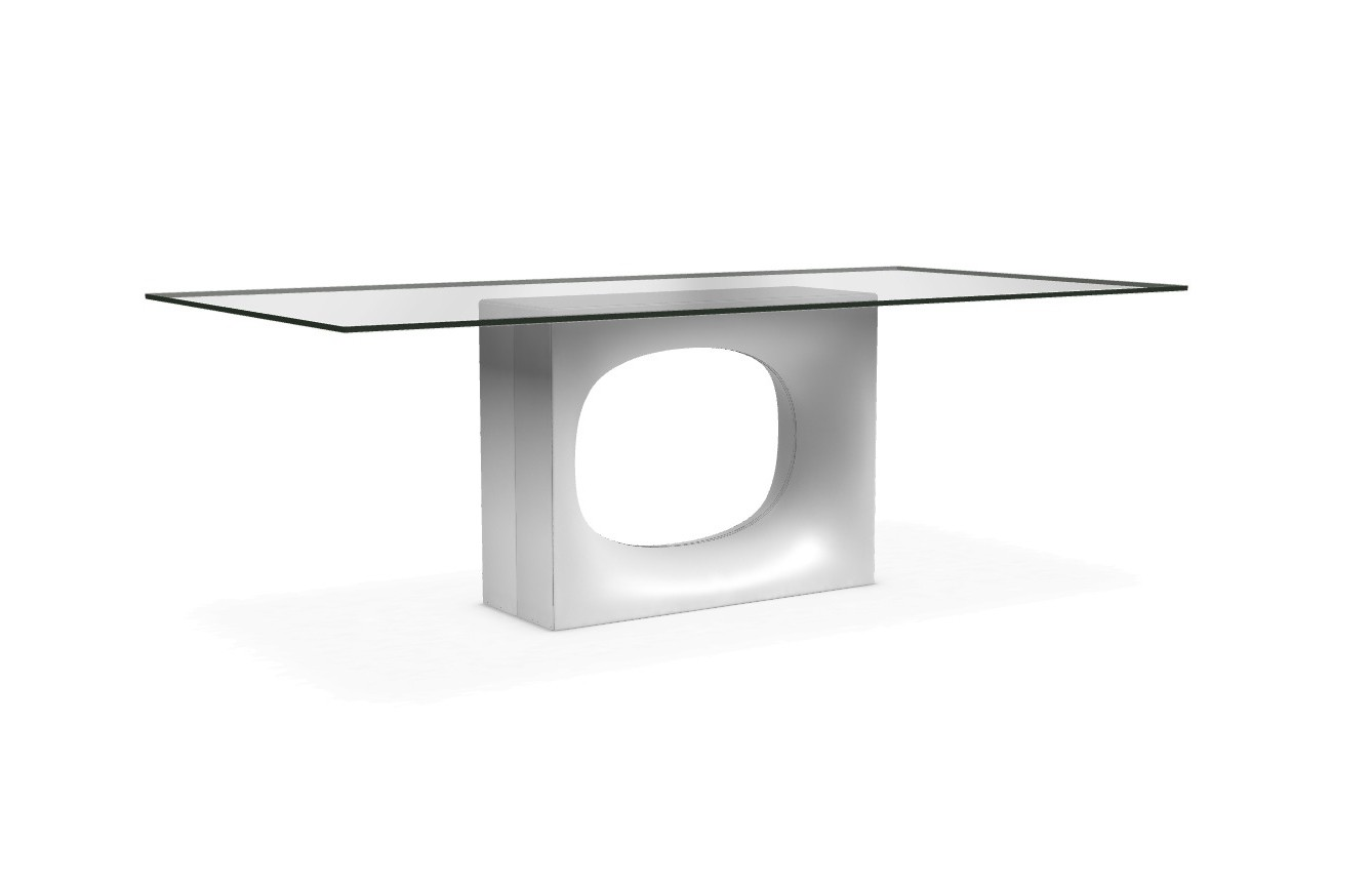 Holo glass - With central base White Lacquered Steel, 250x100cm