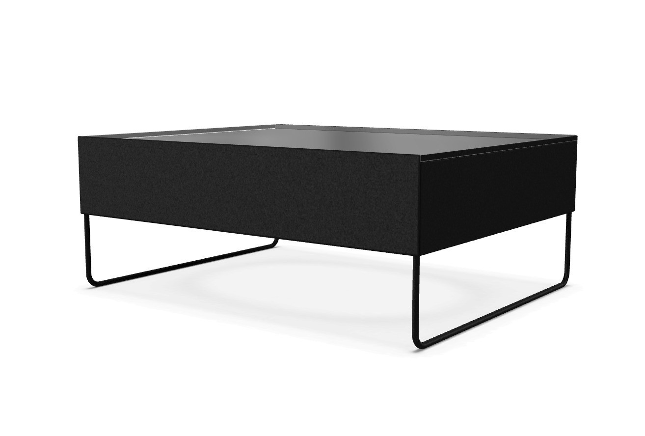 Holo Occasional Table Black Lacquered steel, Transparent Extra Light Glass