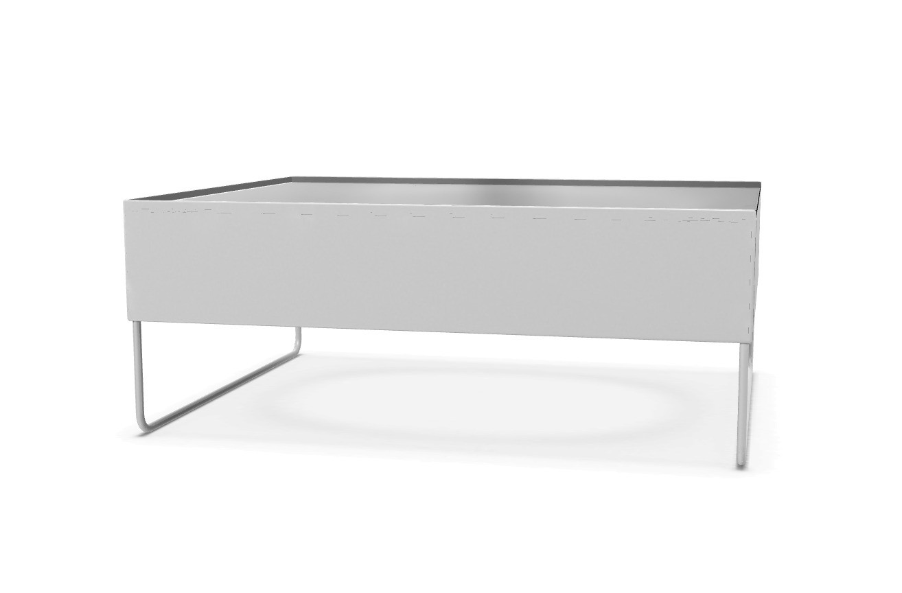 Holo Occasional Table White Lacquered steel, Transparent Extra Light Glass