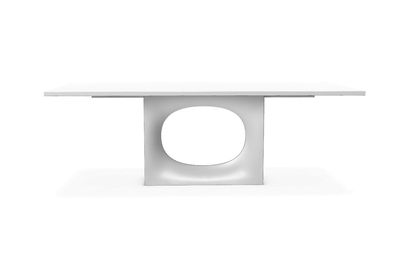Holo - With central base White lacquered steel, Kos white 0032 Fenix-NTM®, 280X100cm