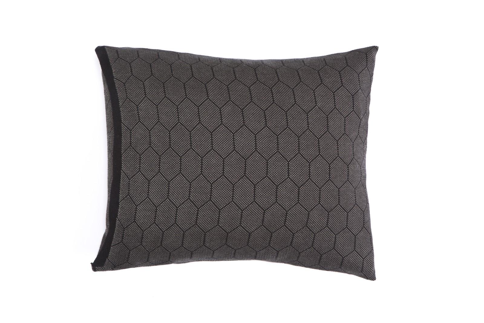 Honeycomb Knitted Cushion Hive Black & Grey