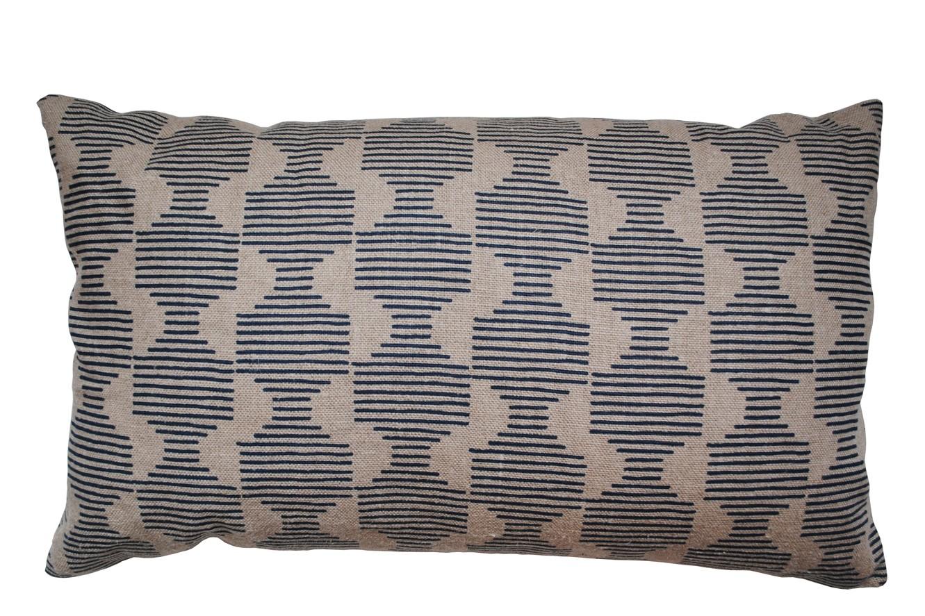 Hoof Rectangular Cushion Dark Blue and Beige