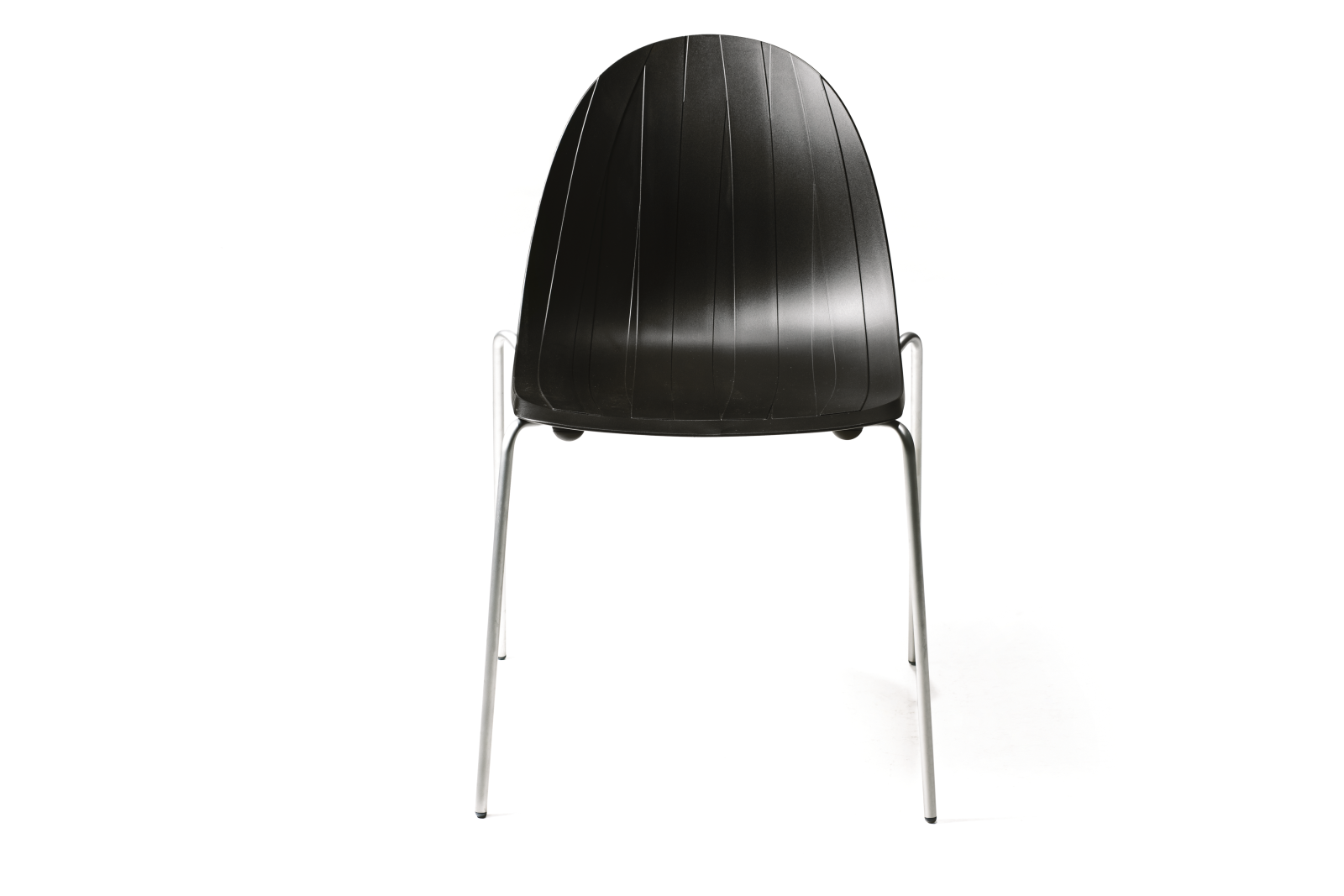 Impossible Wood Dining Chair Black Shell, Stainless Steel Base