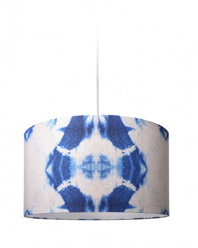 Indigo Shibori Drum Pendant Light