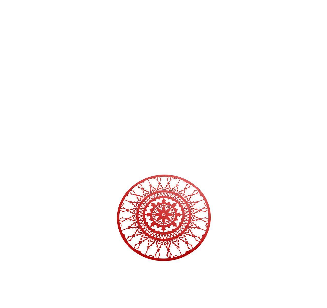 Italic Lace Round Coaster - Set of 4 Red