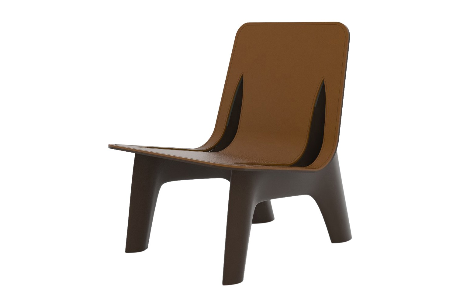 J-Chair Lounge with Upholstery RAL 7021, Steel