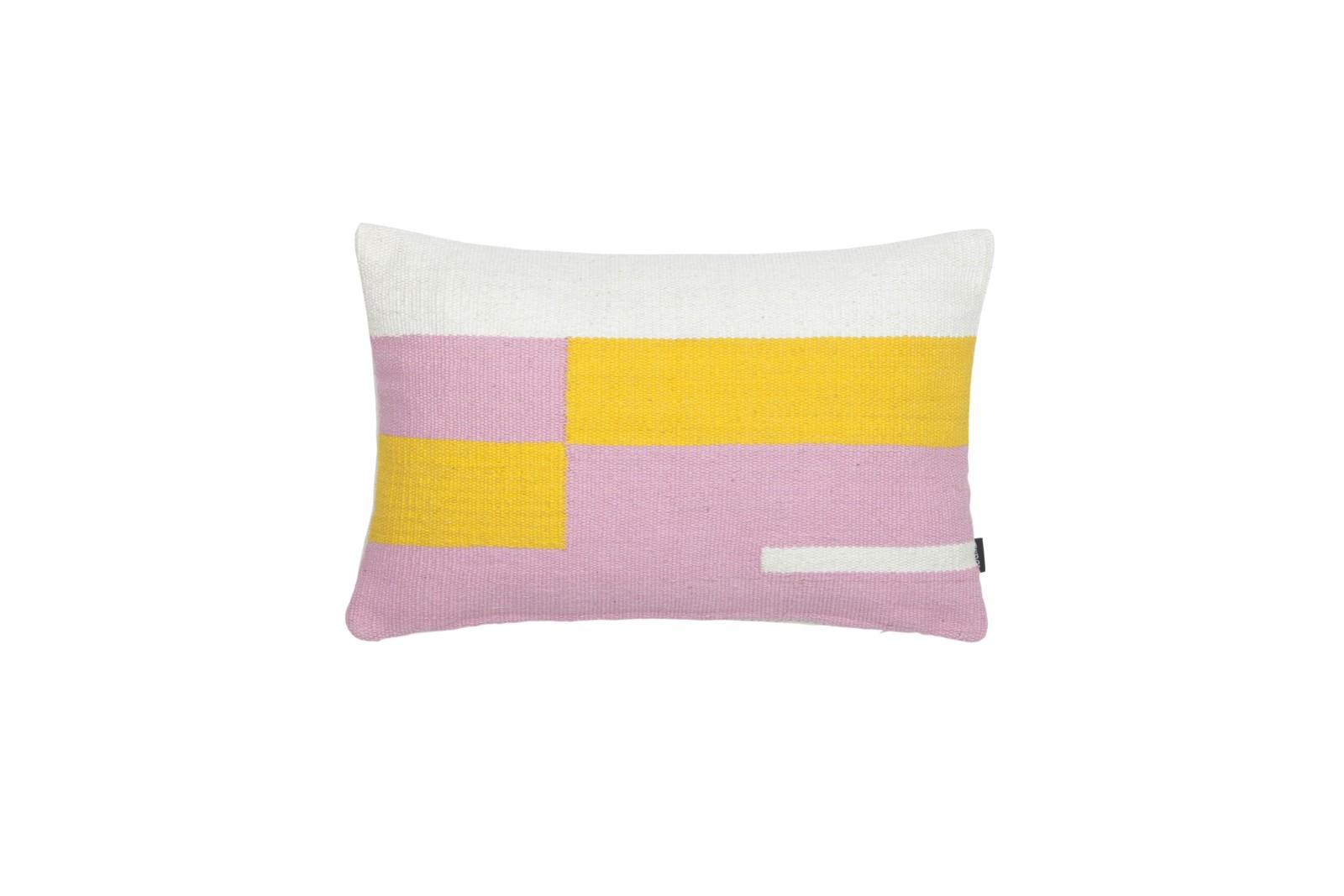 Jama-Khan Cushion Pink, Yellow & Ivory Rectangle Cushion