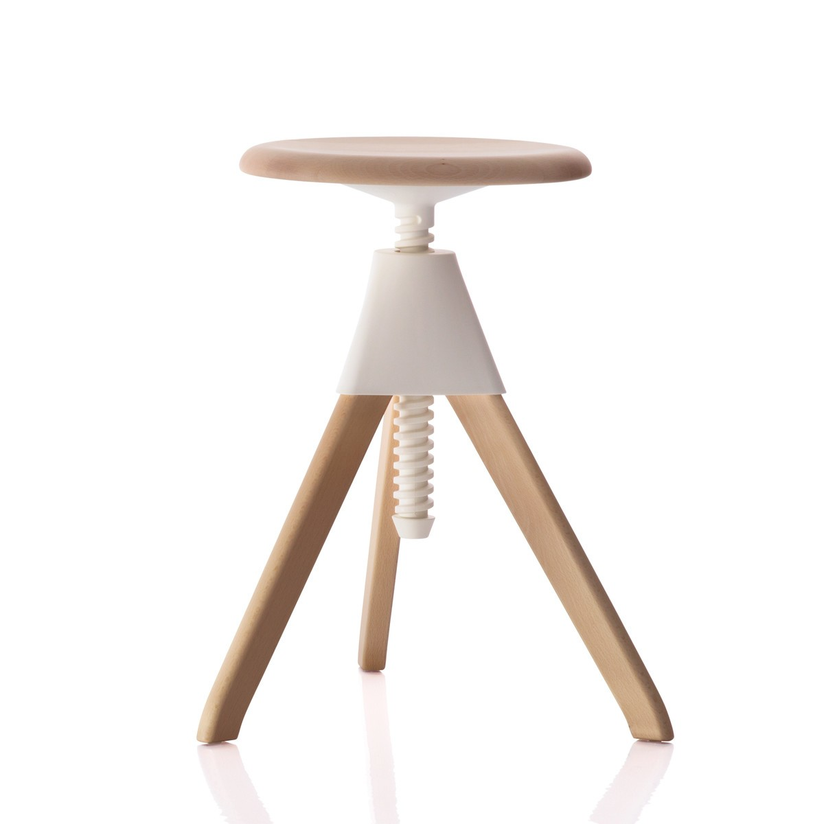 Jerry Swivel Stool - The Wild Bunch Natural Seat and Frame, Matt White Joint and Screw