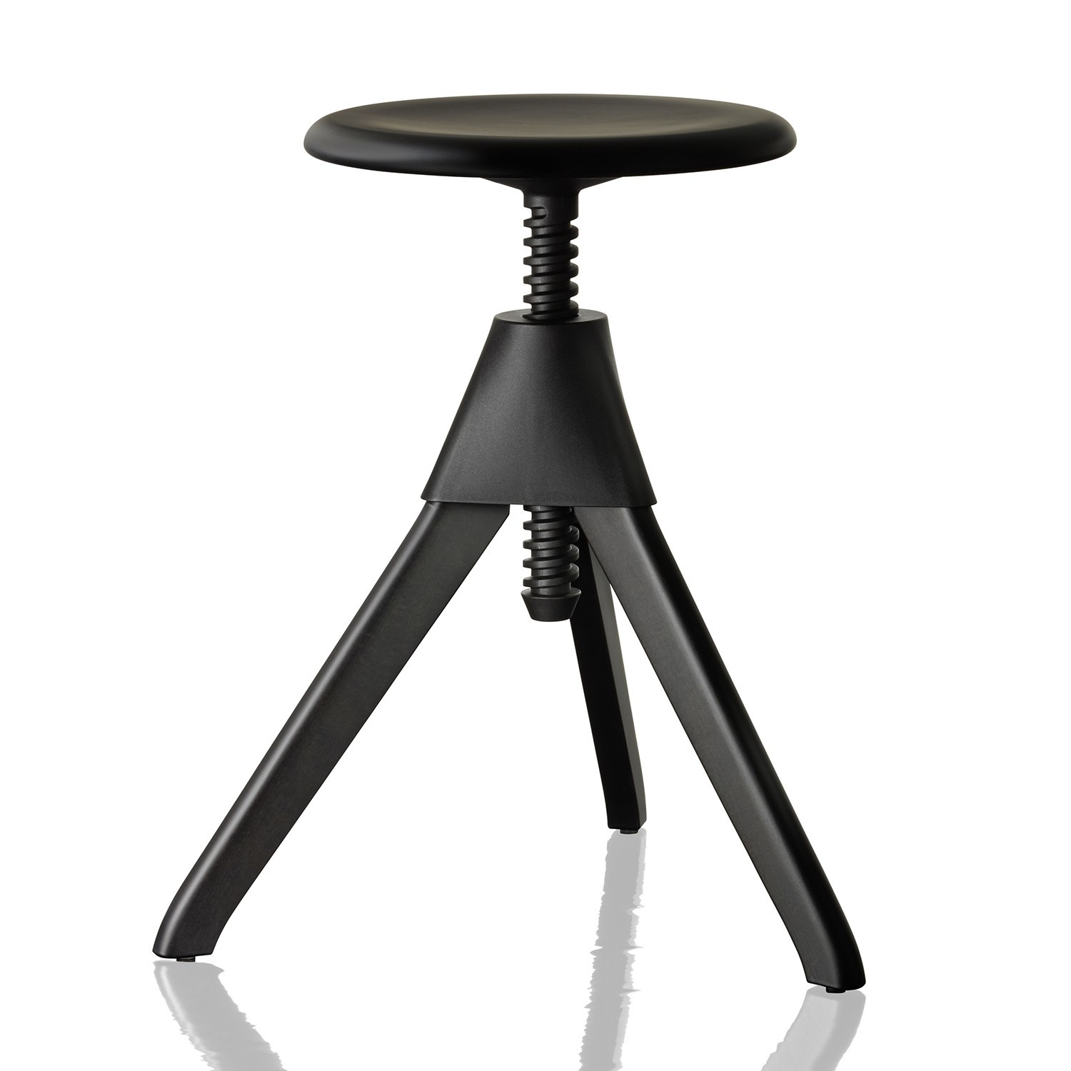Jerry Swivel Stool - The Wild Bunch Painted Black Seat and Frame, Matt Black Joint and Screw
