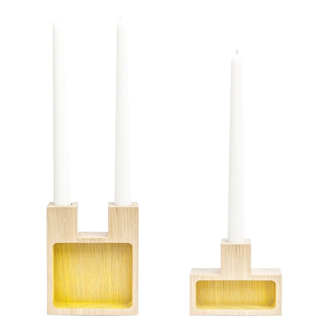 Join Candleholder & Storage Oak, Yellow