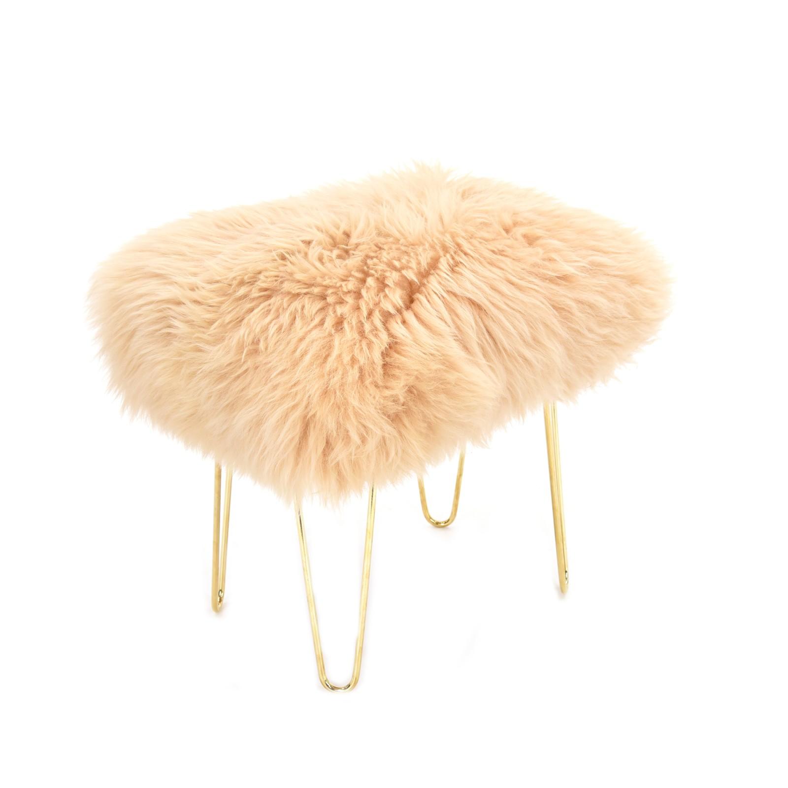 Judy Sheepskin Footstool in Buttermilk