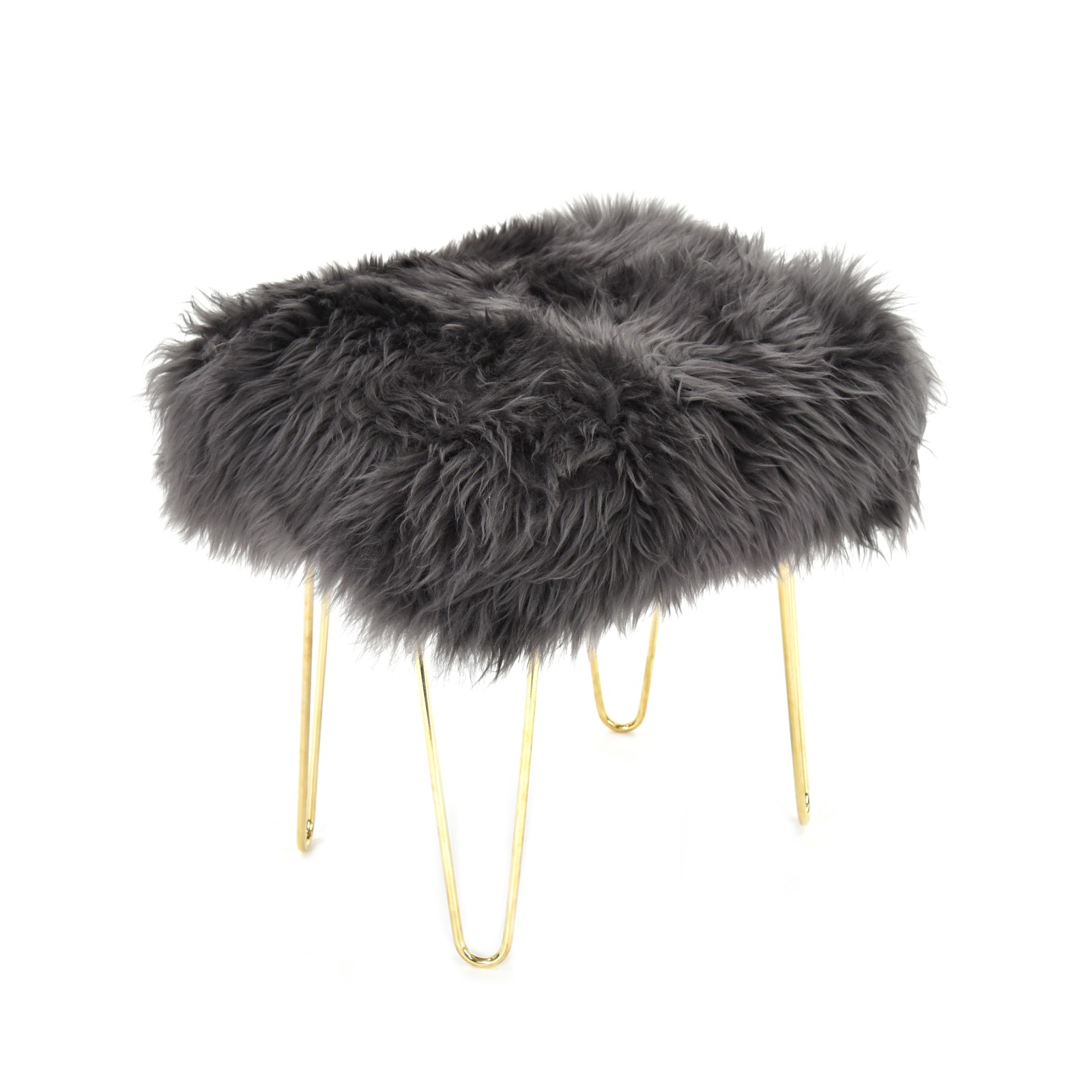 Judy Sheepskin Footstool in Slate Grey