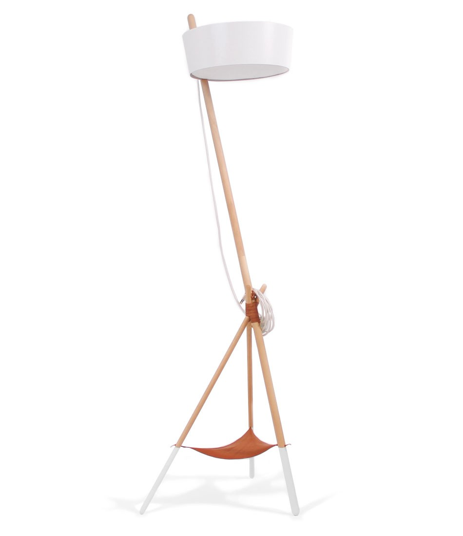 Ka XL Floor Lamp White with leather tray