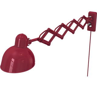 Kaiser Idell Stretchable Swivel Wall Lamp Ruby Red