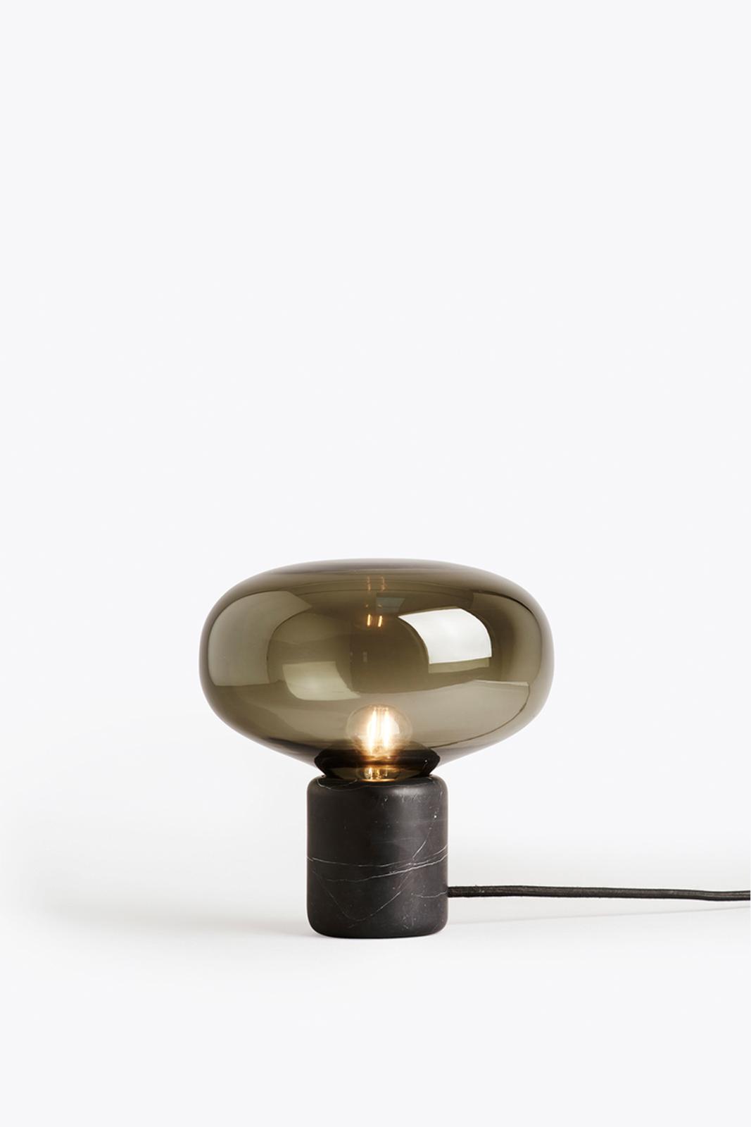 Karl Johan Table Lamp Black Marquina Marble, Smoked Glass