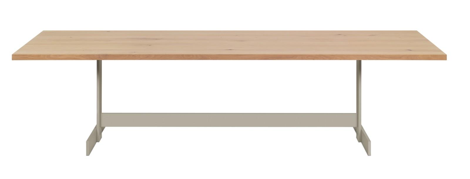 Kazimir Dining Table Powder-Coated Steel, Oiled, Oak, 200,Silk Grey