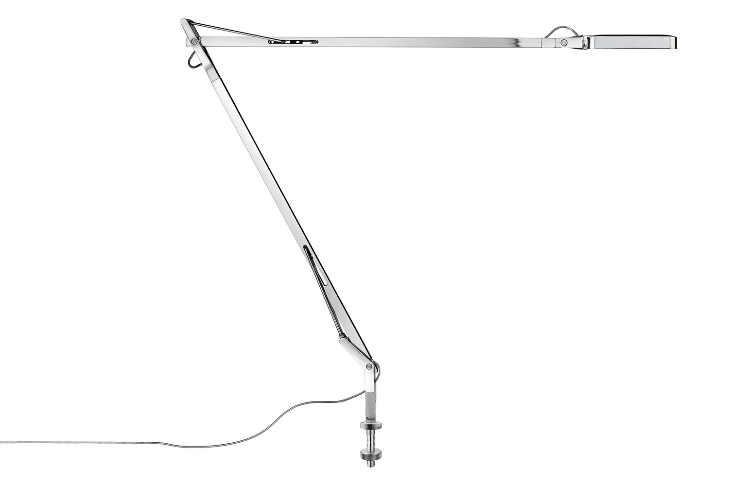 Kelvin Desk-Mounted Lamp Chrome, Visible Cable