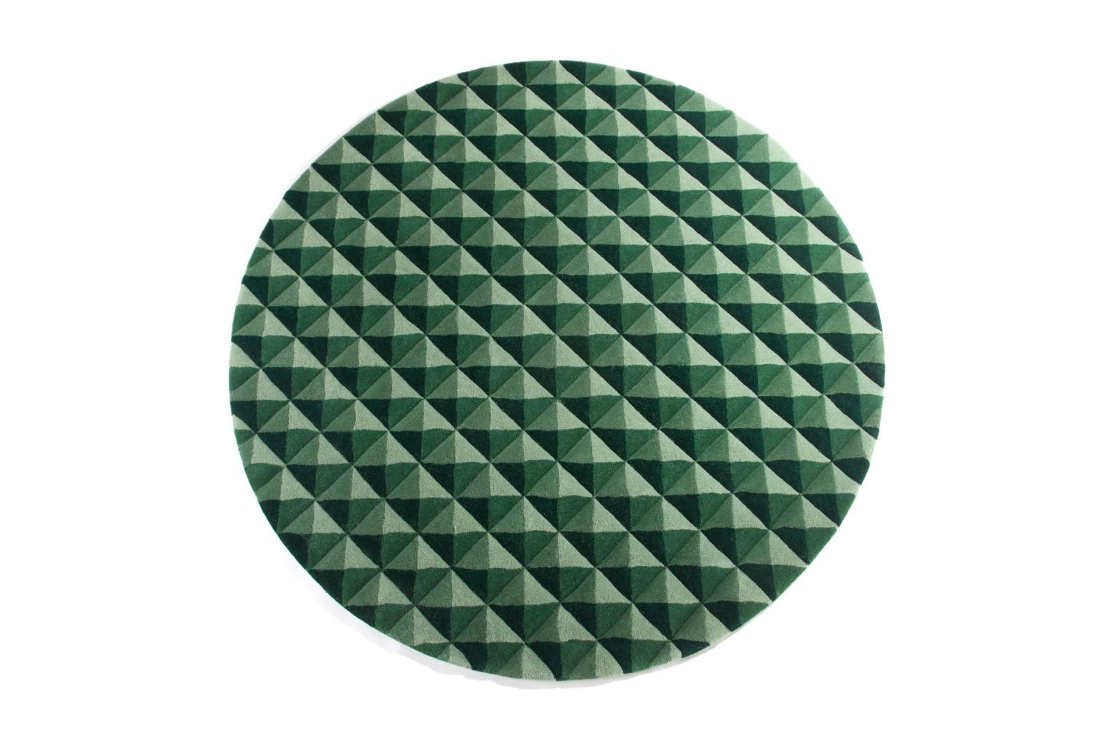 Knurled Circular Rug Green