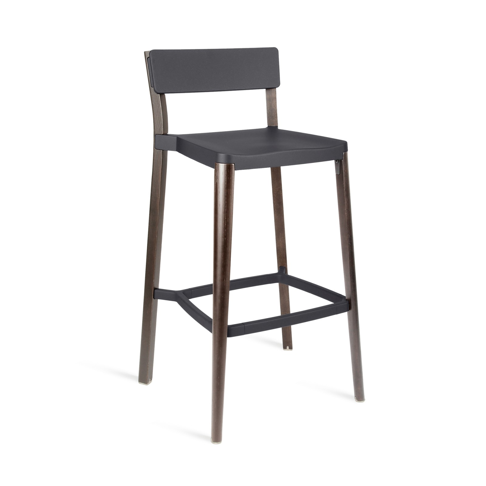Lancaster Barstool Dark Grey, Dark Wood Base, Without Seat Pad, Without Back Pad
