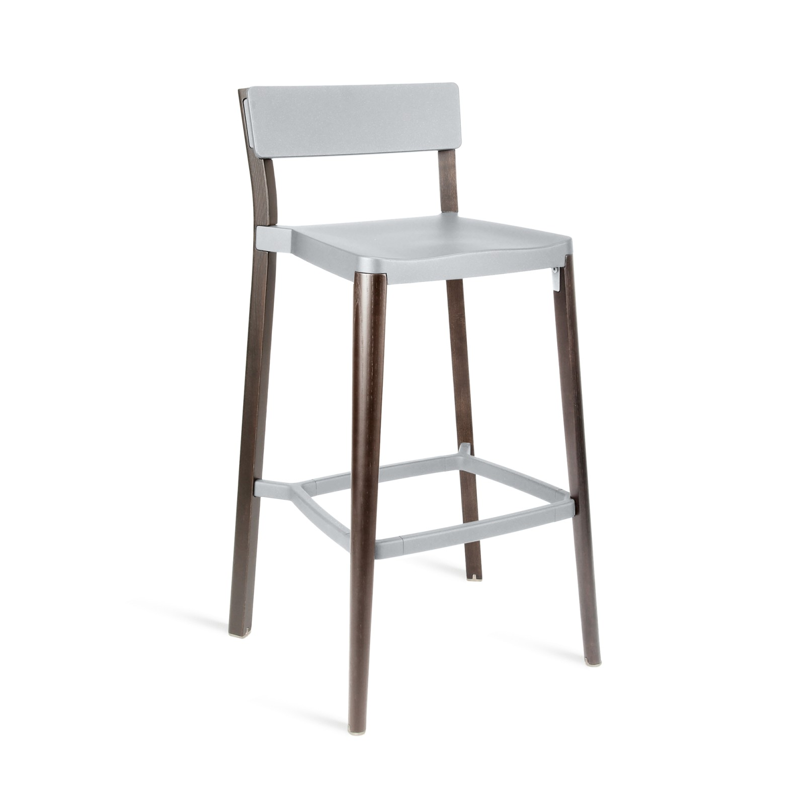 Lancaster Barstool Light Grey, Dark Wood Base, Without Seat Pad, Without Back Pad