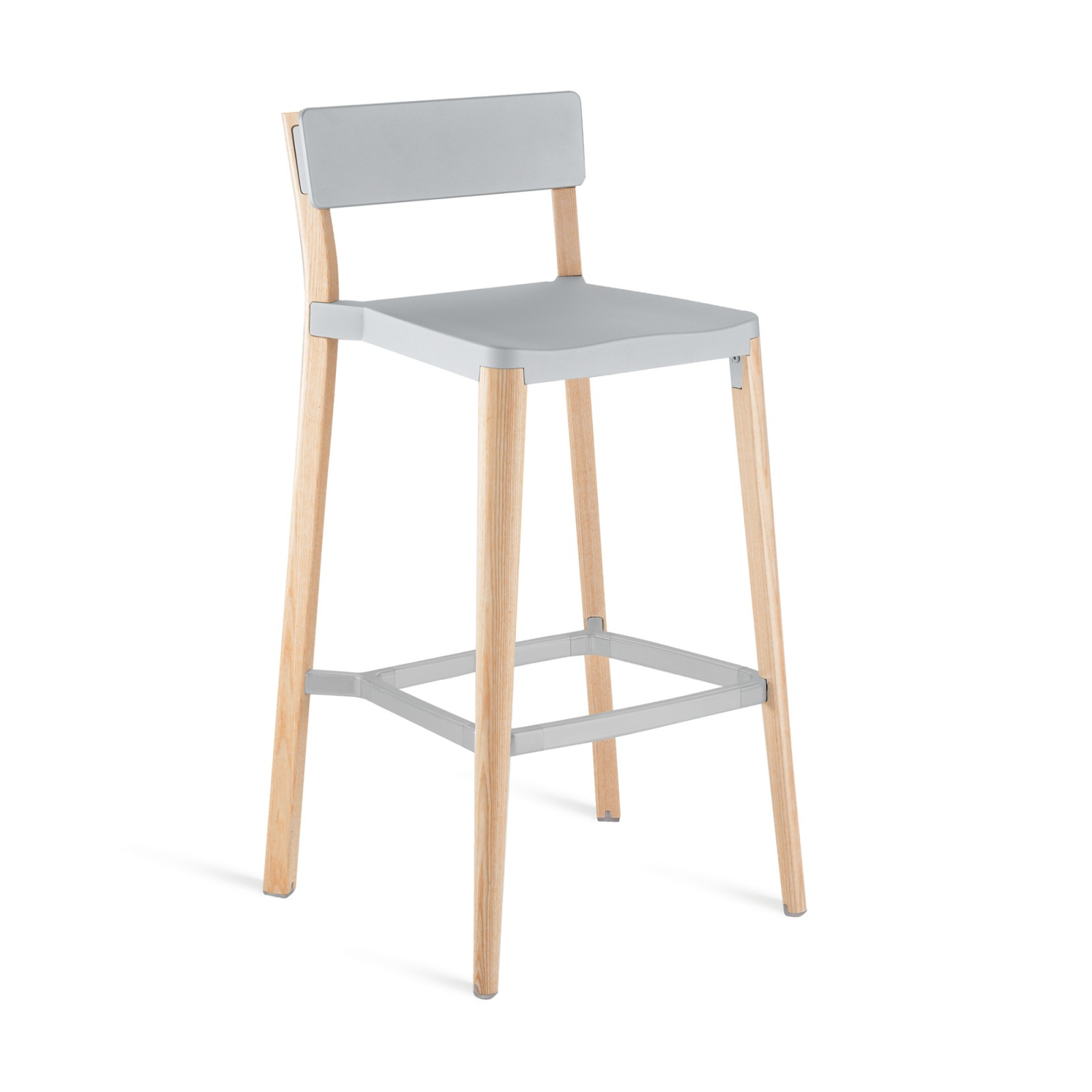 Lancaster Barstool Light Grey, Light Wood Base, Without Seat Pad, Without Back Pad