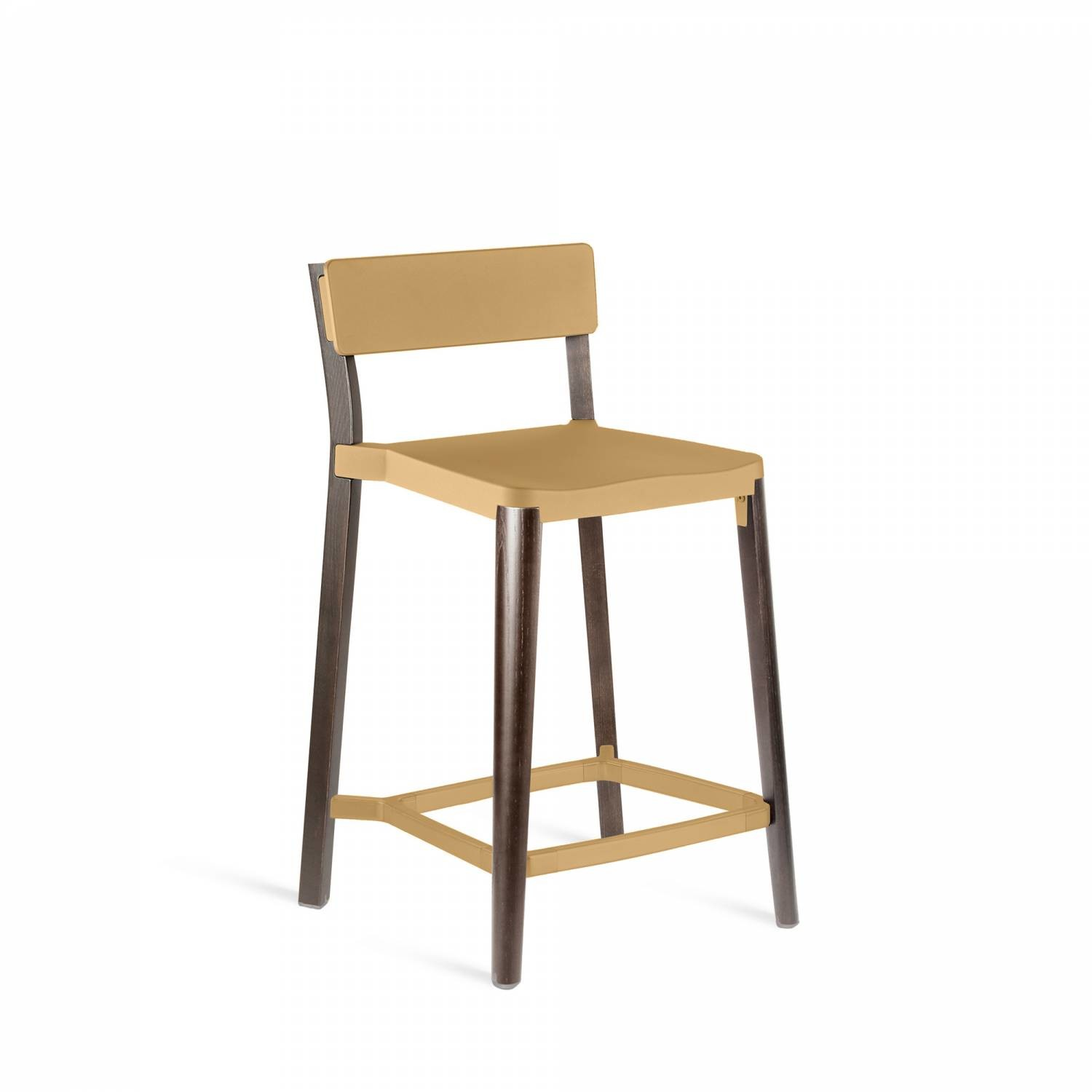 Lancaster Counter Stool Sand, Dark Wood Base, Without Seat Pad, Without Back Pad