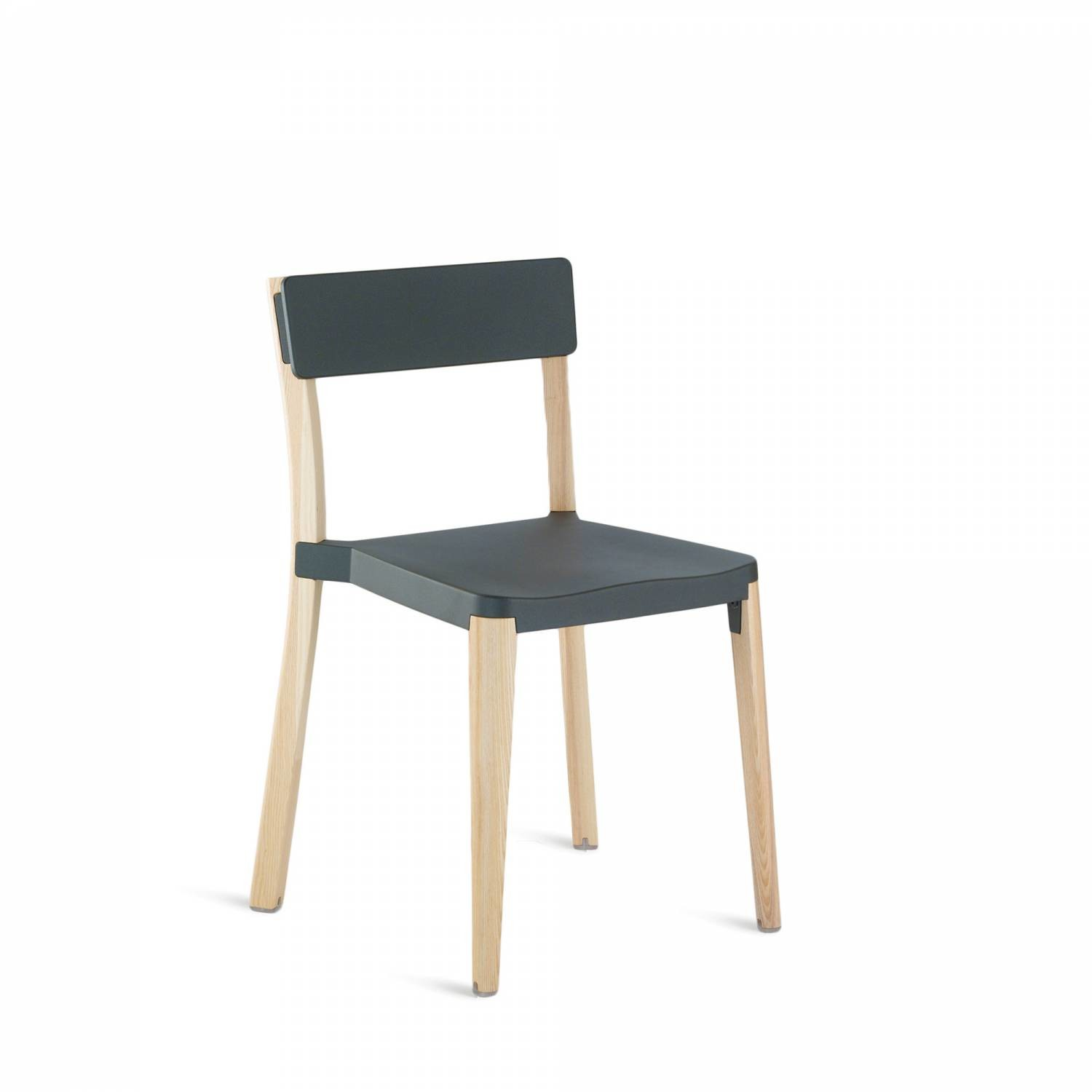 Lancaster Stacking Chair Dark Grey, Light Wood Base, Without Seat Pad, Without Back Pad