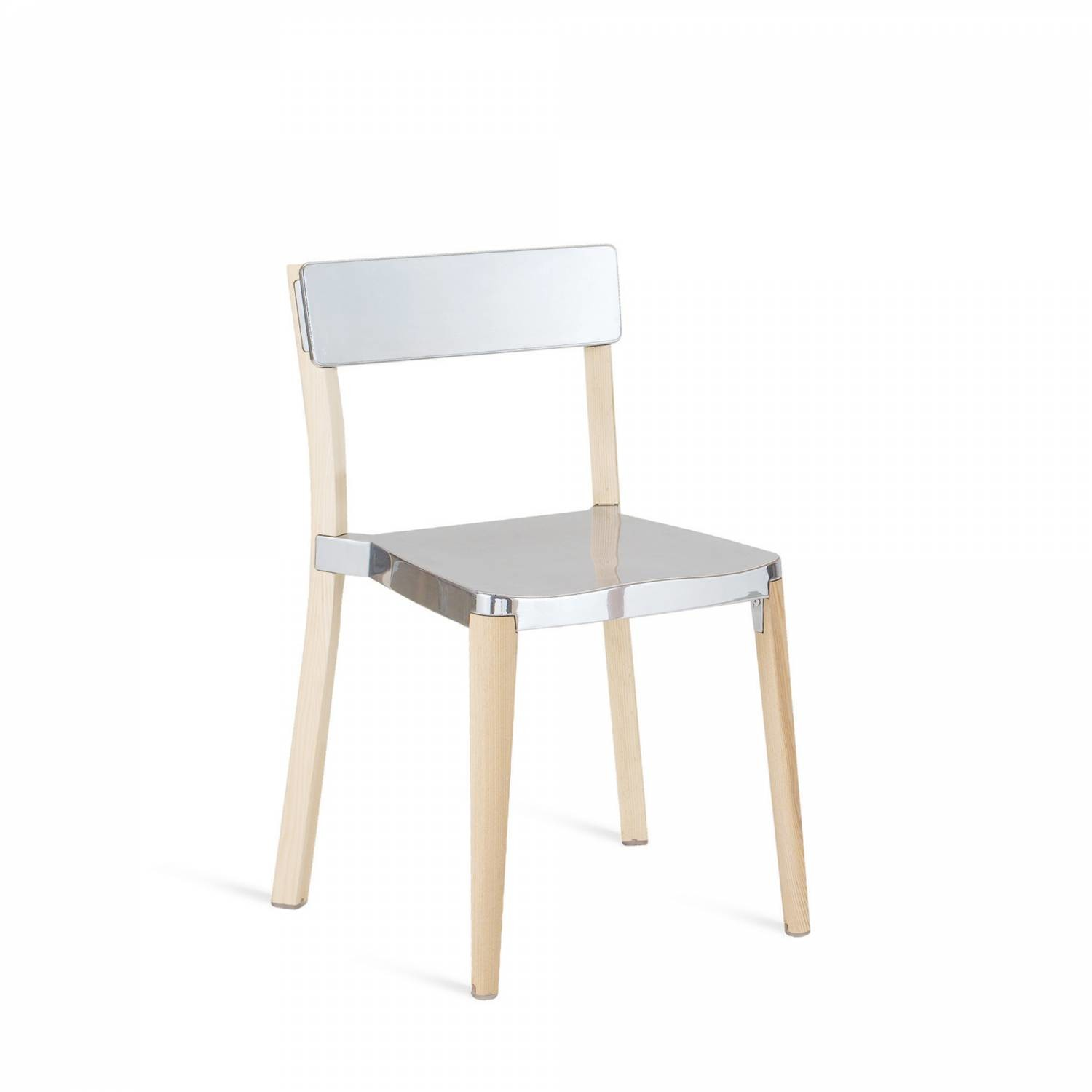 Lancaster Stacking Chair Polished Aluminium, Light Wood Base, Without Seat Pad, Without Back Pad