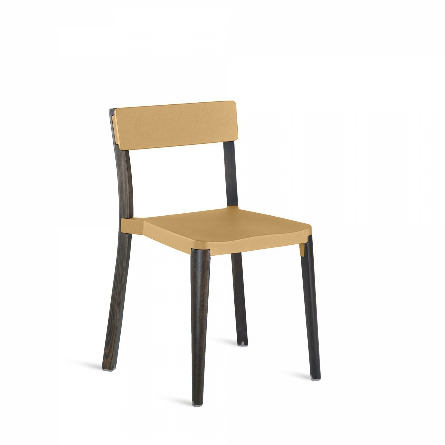 Lancaster Stacking Chair Sand, Dark Wood Base, Without Seat Pad, Without Back Pad
