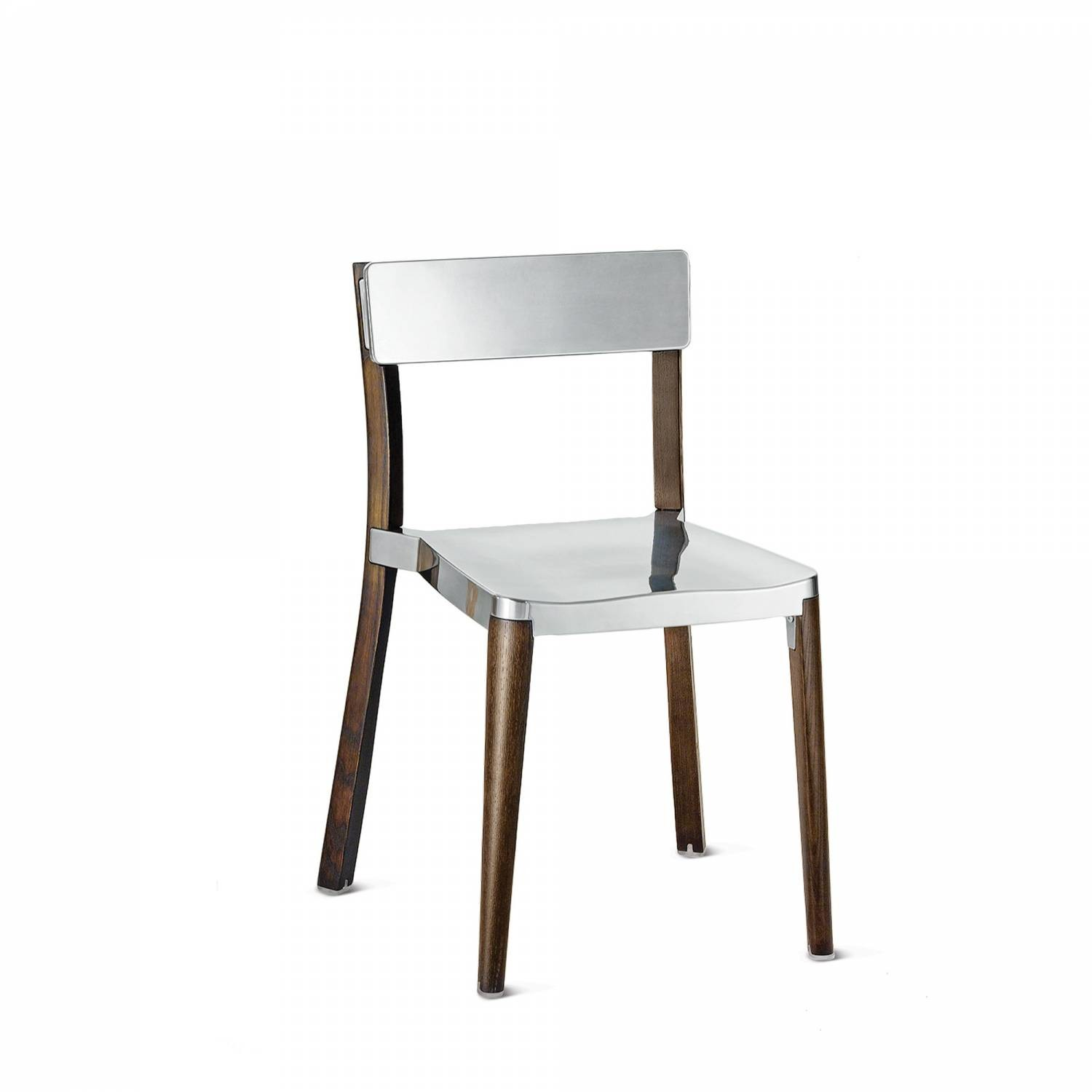 Lancaster Stacking Chair Polished Aluminium, Dark Wood Base, Without Seat Pad, Without Back Pad