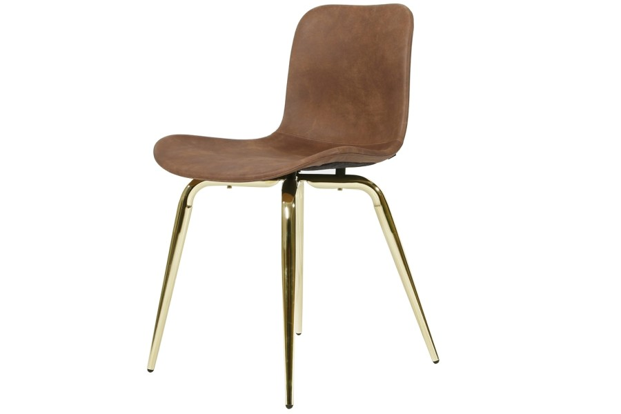 Langue Avantgarde Dining Chair, Brass - Leather Cuoio Brown Tempur Leather