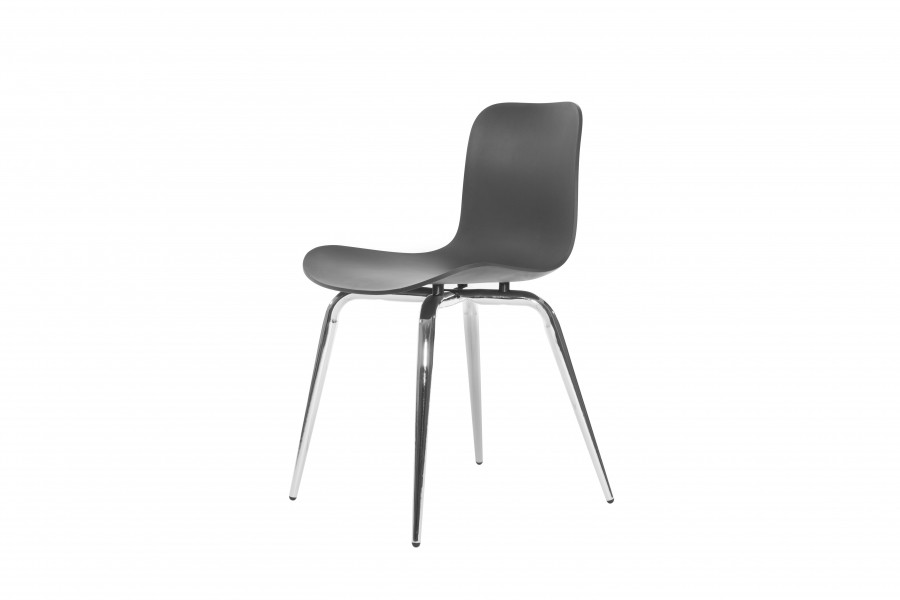 Langue Avantgarde Dining Chair, Chrome Anthracite Black