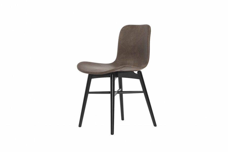 Langue Original Dining Chair, Black - Leather Carbone Brown Tempur Leather