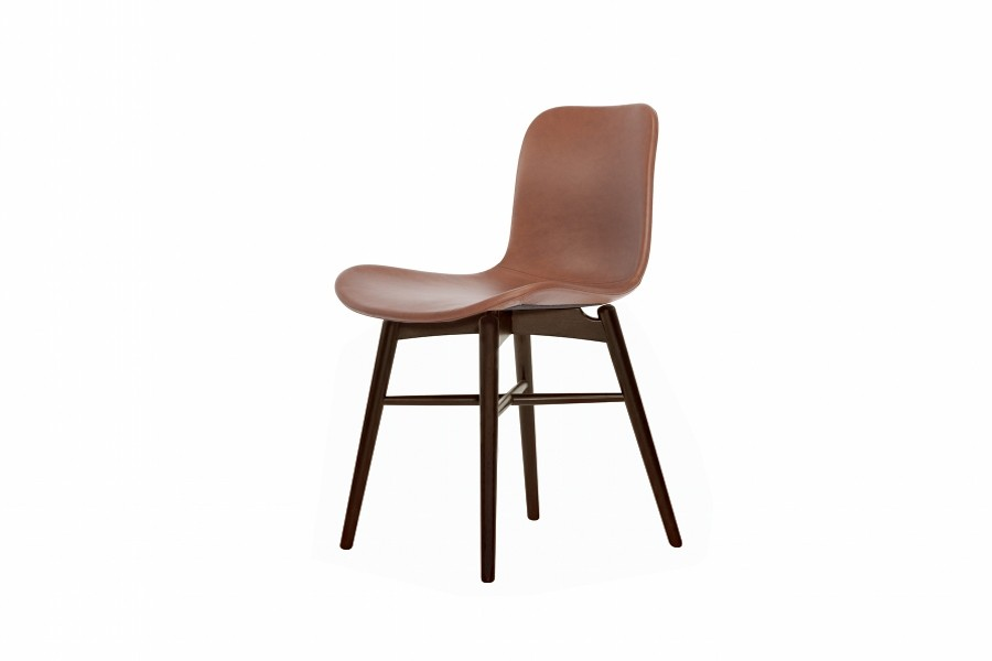 Langue Original Dining Chair, Dark Stained - Leather Brandy Premium Leather