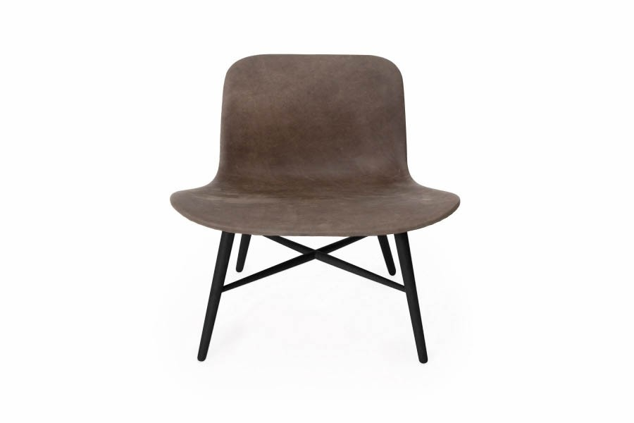 Langue Original Lounge Chair, Leather - Black Carbone Brown Tempur Leather