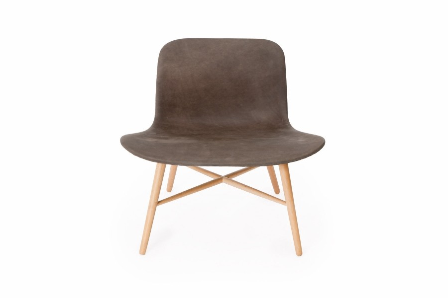 Langue Original Lounge Chair, Natural - Leather Carbone Brown Tempur Leather