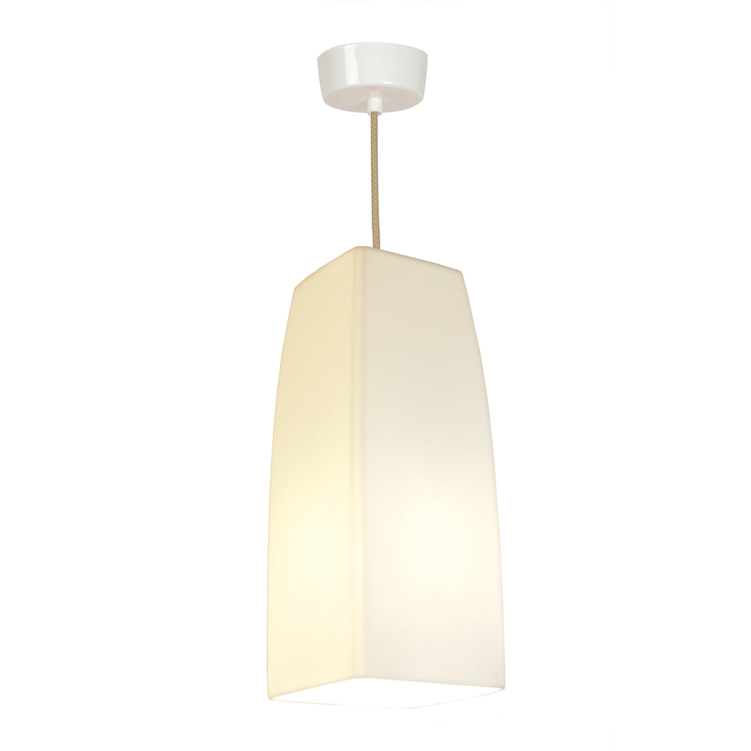 Large Square Pendant Light White Gloss
