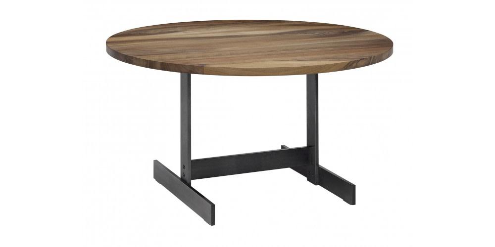Lazlo Round Side Table Matt Blackened Steel, Oiled Walnut, 75, 40