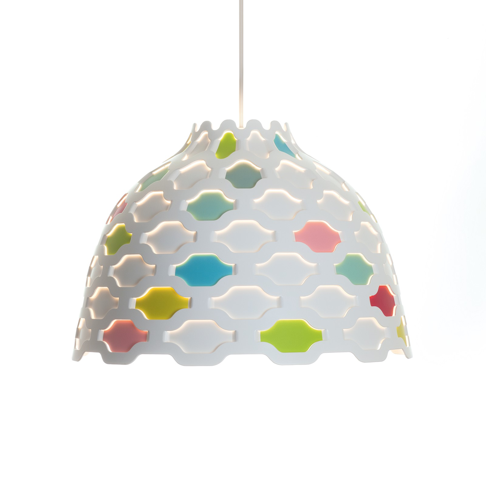 LC Shutters Pendant Light White with coloured foils