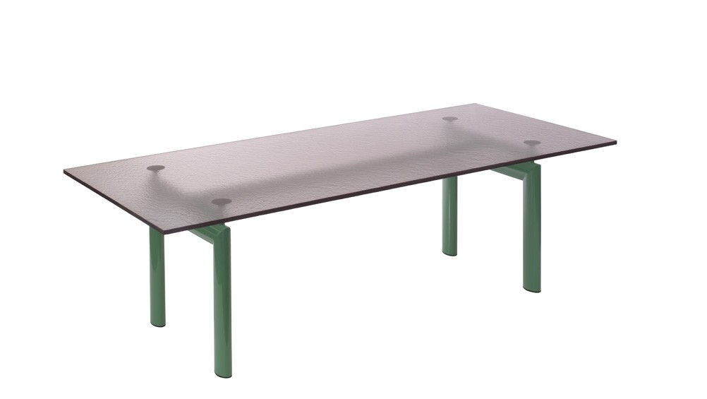 LC6 Dining Table - Limited Edition Green Base, Rose-grey Top