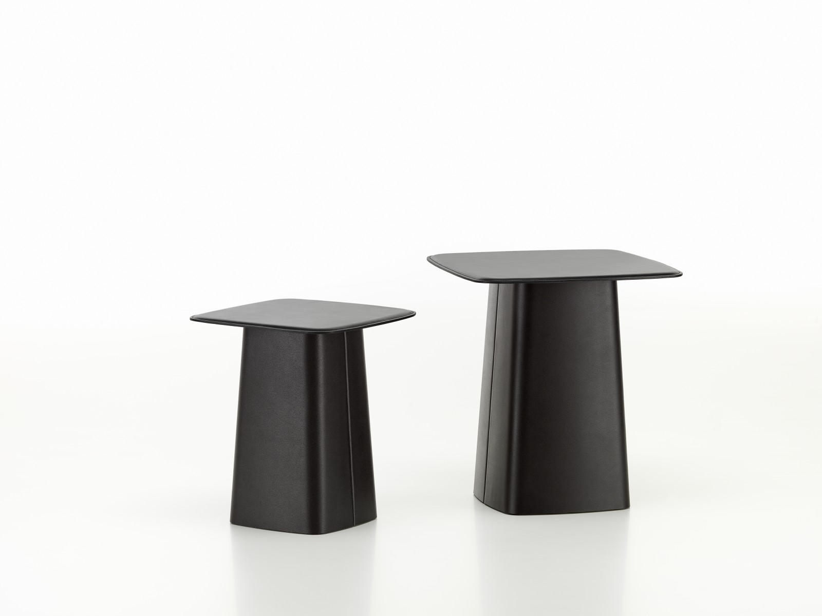 Leather Side Table Nero, Small