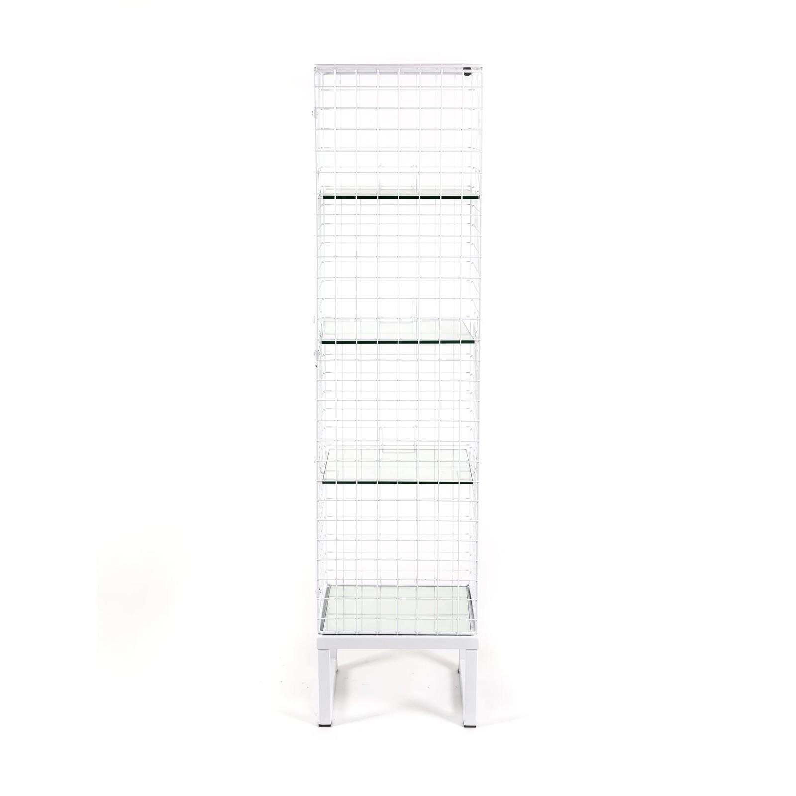 Les Volières Metal Mesh Cabinet Long White
