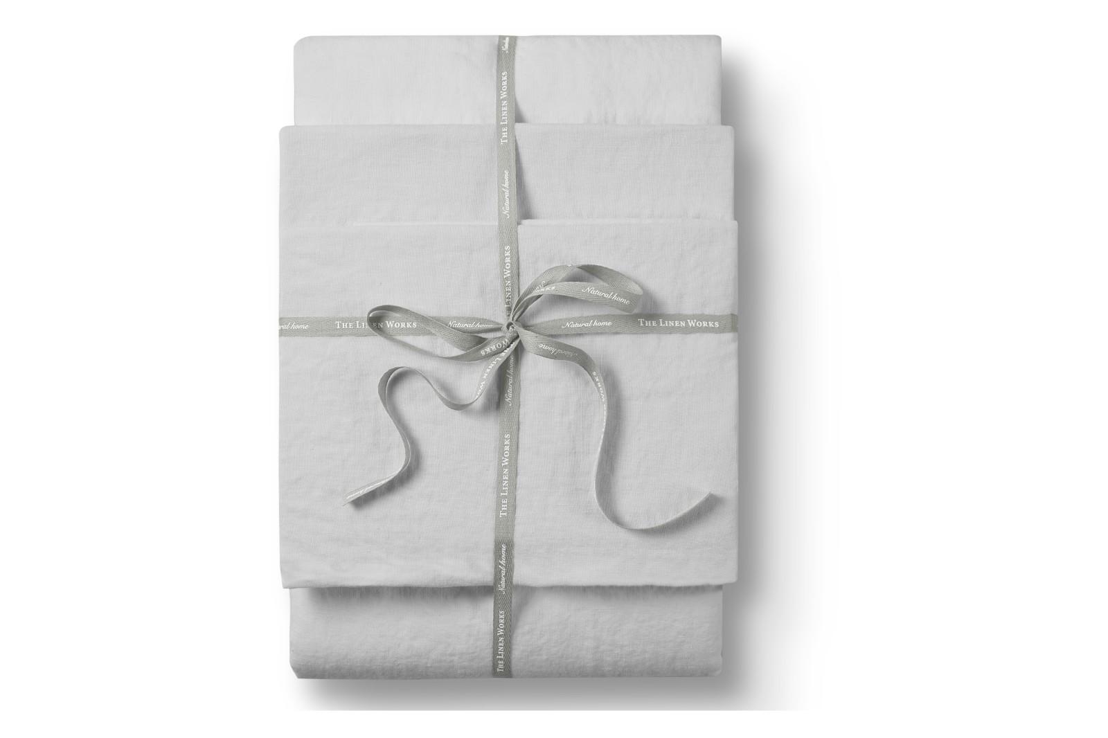 Linen Flat Sheet Dove Grey, Single