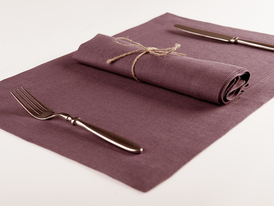 Linen napkins or Linen placemats Set of Six Eggplant placemats