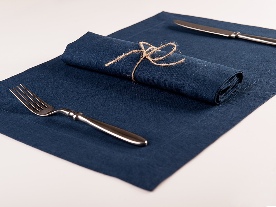 Linen napkins or Linen placemats Set of Six Indigo placemats