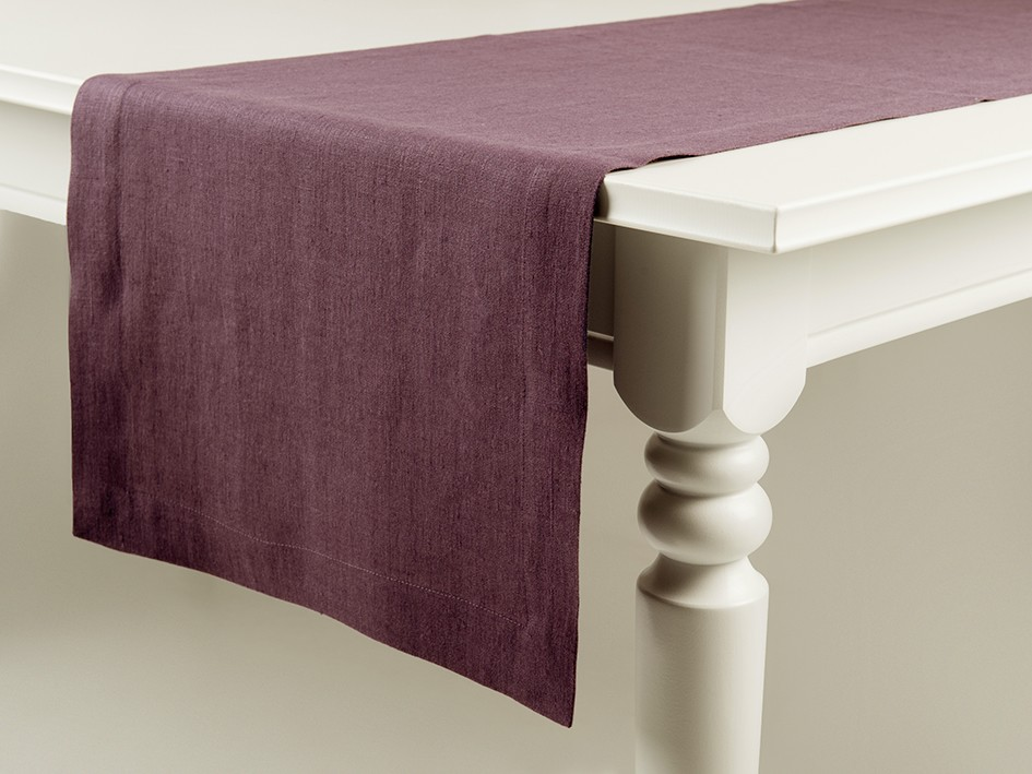 Linen table runner Eggplant 40x180cm