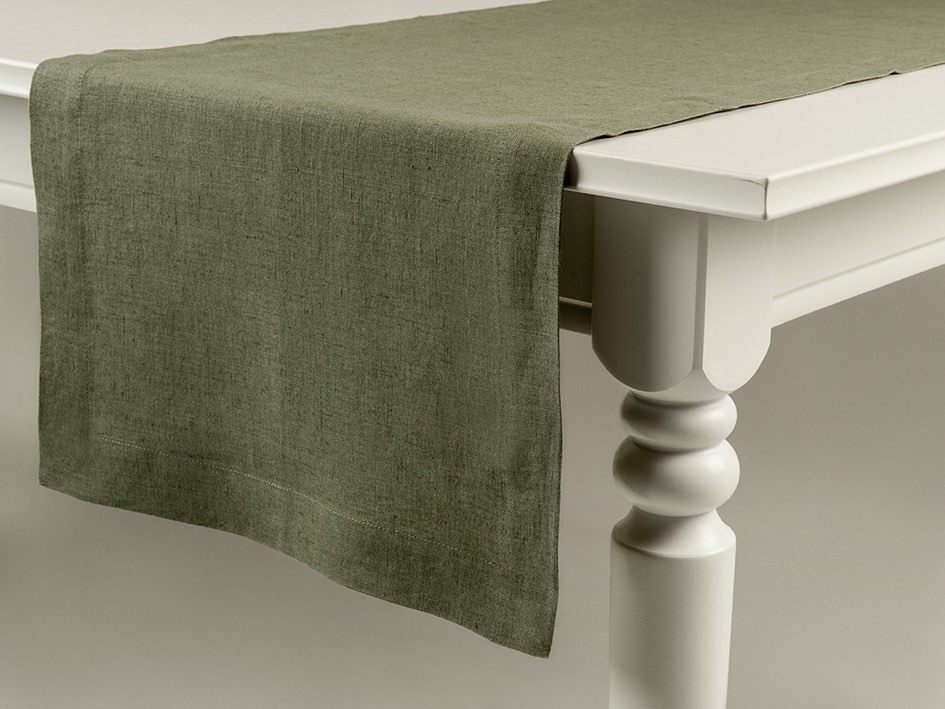 Linen table runner Moss green 40x120cm