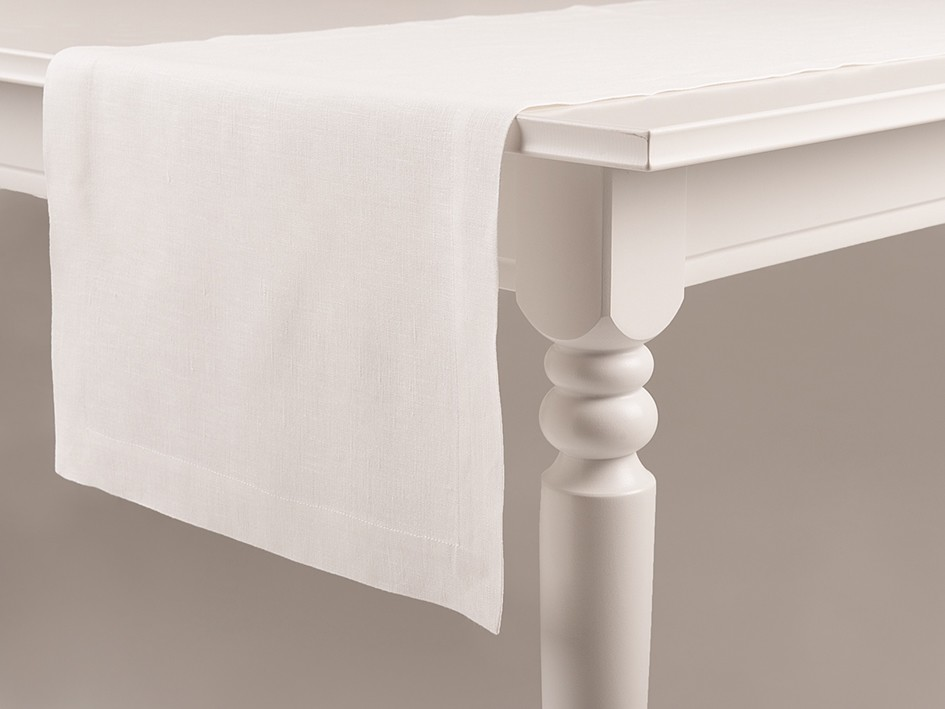 Linen table runner White 40x240cm